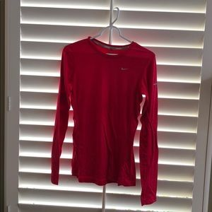 Nike running red long sleeve